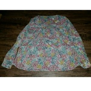 Ann Taylor Loft Blue Pink Floral Shirt SP